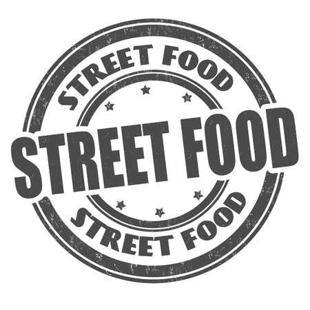 Street food grunge rubber stamp on white background, vector illustration Illustration