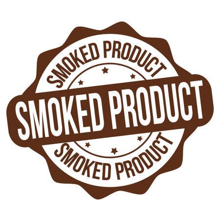 Smoked product sign or stamp on white background, vector illustration