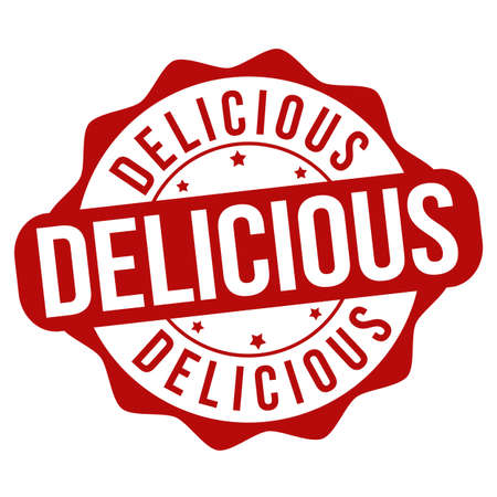 Delicious sign or stamp on white background, vector illustration Illustration