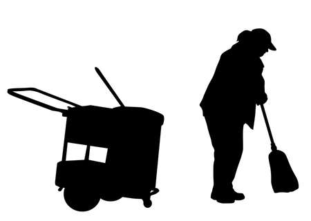 Woman silhouette sweeping with broom on white background, vector illustration Illustration