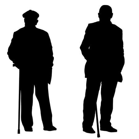 Two elderly people silhouette with canes on white background, vector illustration Illustration
