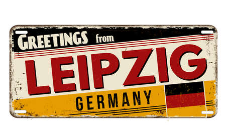 Greetings from Leipzig vintage rusty metal plate on a white background, vector illustration Illustration