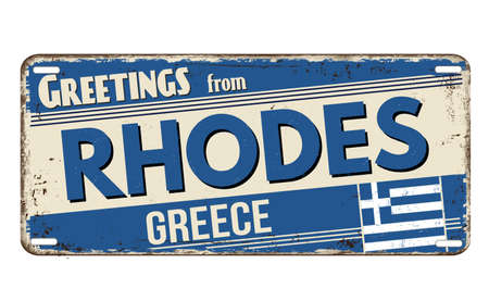 Greetings from Rhodes vintage rusty metal plate on a white background, vector illustration