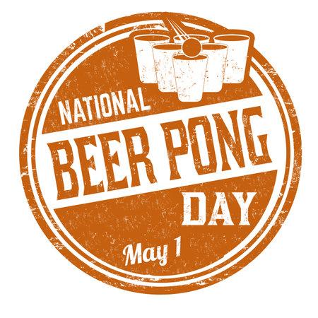 National beer pong day grunge rubber stamp on white background, vector illustration