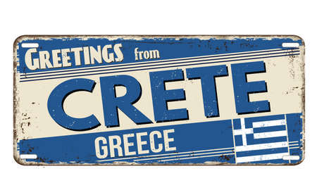 Greetings from Crete vintage rusty metal plate on a white background, vector illustration
