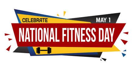 National fitness day banner design on white background, vector illustration Illustration