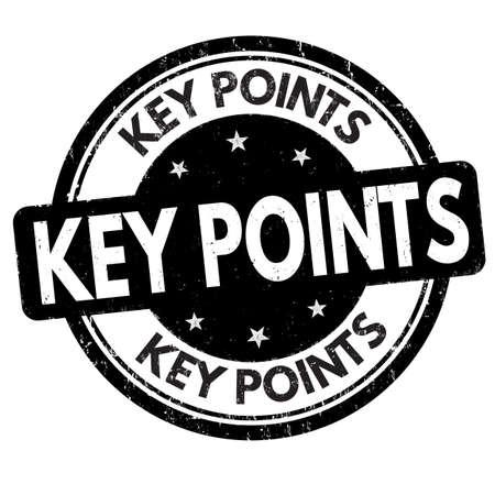 Key points grunge rubber stamp on white background, vector illustration