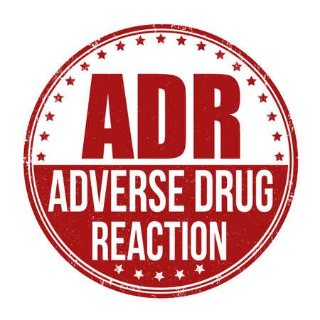 ADR ( Adverse Drug Reaction) grunge rubber stamp on white background, vector illustration Vektorové ilustrace