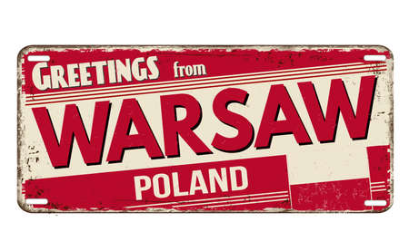 Greetings from Warsaw vintage rusty metal plate on a white background, vector illustration
