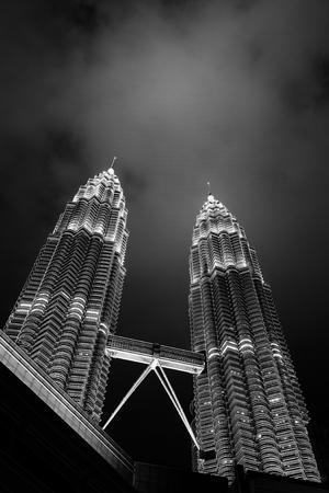 tallest bridge: Kuala Lumpur, Malaysia - February, 2017: Petronas Twin Towers, night.