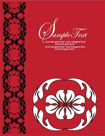 Red floral invitation card with black chain and white flower Stock Vector - 18642549