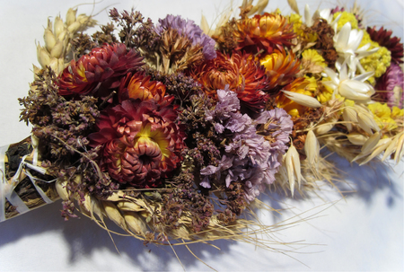 dried flowers: Abstract bouquet of dried flowers and poppies Stock Photo