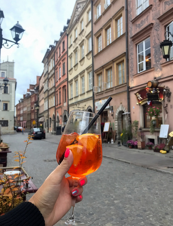 spritz: celebrate glass of Aperol in the old town Stock Photo