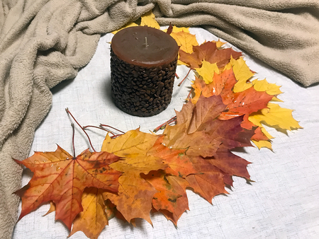 beautiful orange, yellow and red autumn leaves and a candle