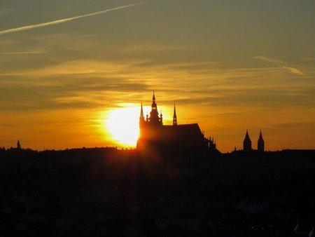 the views of the city of Prague at sunset