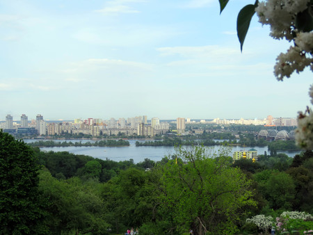 views of Kiev from botanical garden in the spring Stock Photo