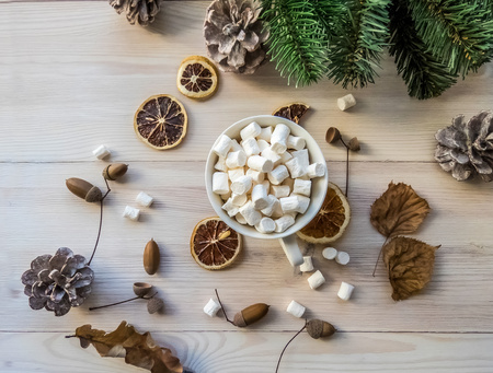 autumn still life with hot cocoa, marshmallows, pine and cones, lemon, leaves, on white wooden background top view. object group 免版税图像