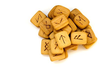 Old wooden runes photo
