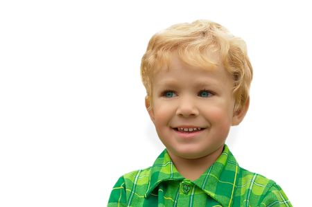 3-years old blond boy with blue eyes, isolated on a white photo