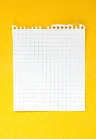 Sheet of white lined paper on the yellow background photo