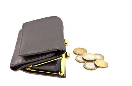 Single gray leather wallet with six coins photo