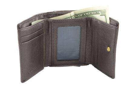 Single gray leather wallet with dollar banknotes photo