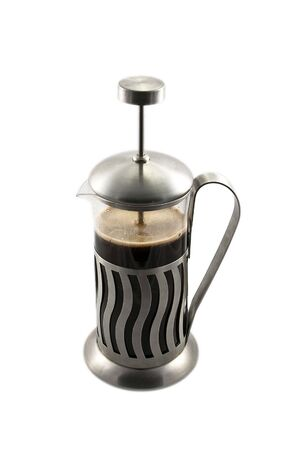 percolator: French press with cofee, on the white