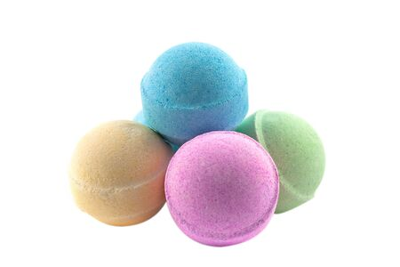 Bath bombs, isolated on the white background Zdjęcie Seryjne