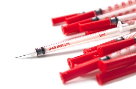 Insulin syringes, isolated on the white background Zdjęcie Seryjne