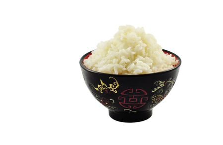 food staple: Boiled rice in ceramic ware, isolated on the white