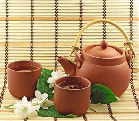 chinese teapot: Jasmin tea Stock Photo