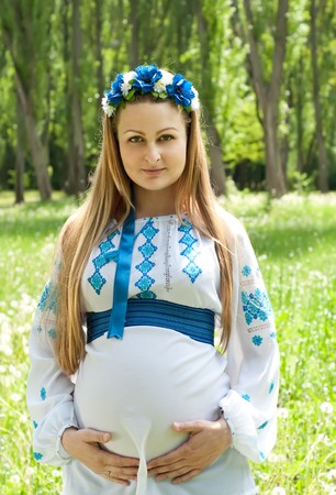 russian ethnicity: Woman in traditional costume Stock Photo