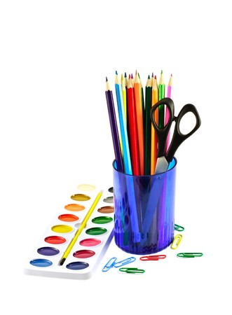 aquarelle painting art: Paintbox and colored pencils Stock Photo