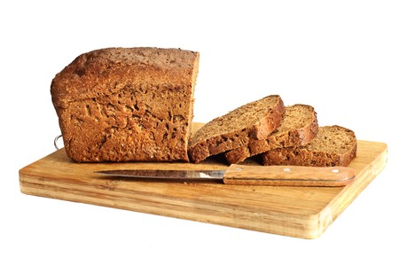 bread knife: Sliced bread Stock Photo