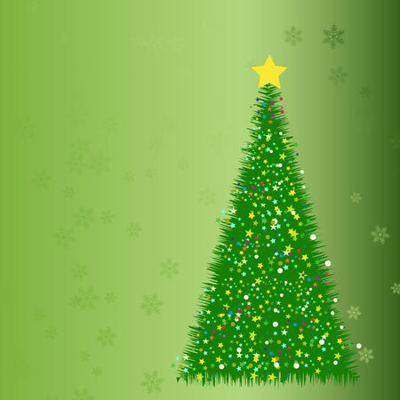 Abstract fir tree from stars, on the green background Ilustracja