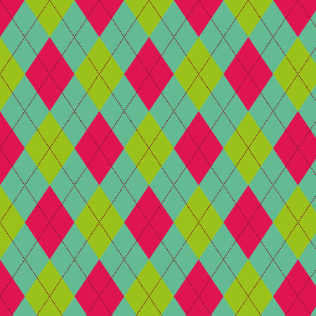 Seamless scotland pattern in green and pink colors Vector