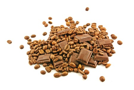 Chocolate bars and coffee beans photo