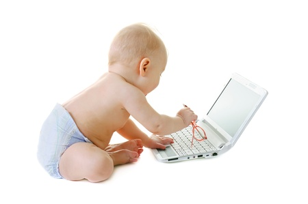 Baby with a laptop photo