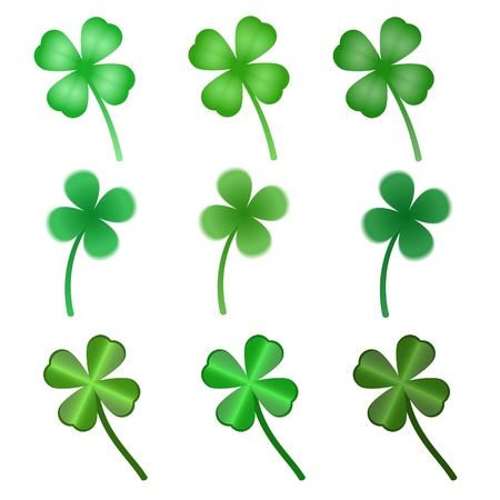 four objects: set of stylized  clover leaves