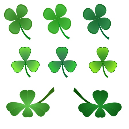 set of stylized  clover leaves Stock Vector - 8893520