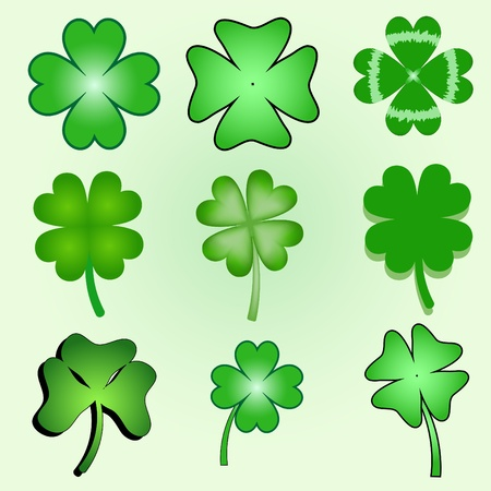 shamrocks: set of stylized  clover leaves