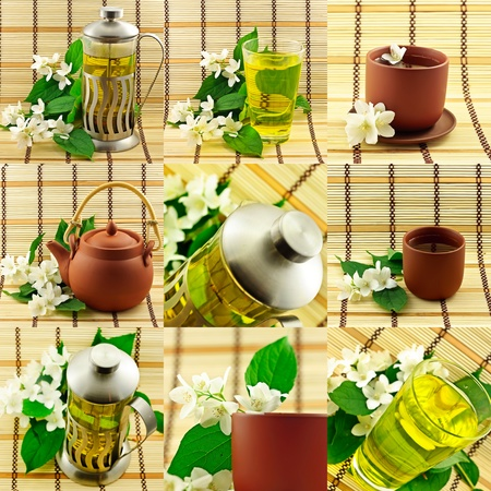 Jasmin tea collage photo
