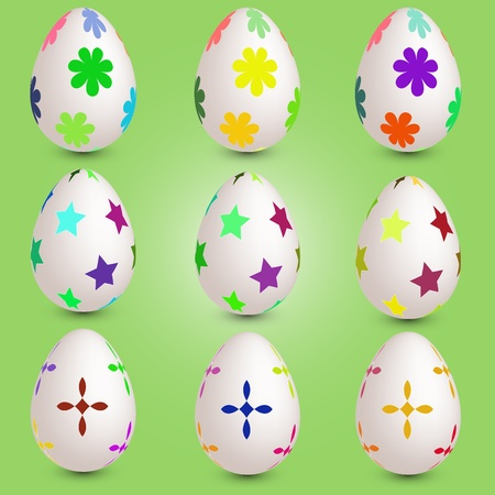 crist: Set of nine easter eggs Illustration