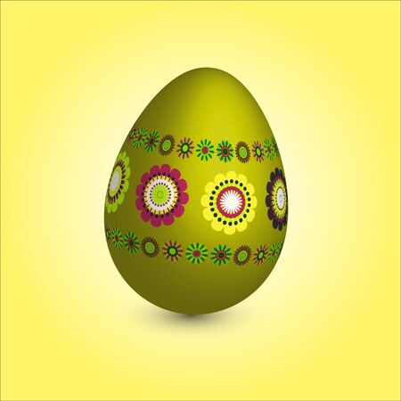 single easter egg with floral ornament Vector