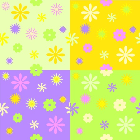 set from four spring seamless patterns Vector