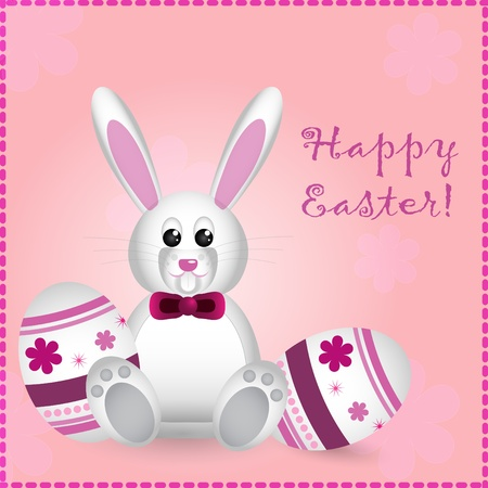 easter card with pretty rabbit and text Vector