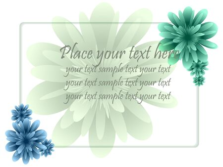 display type: frame with flower and text in pastel tones