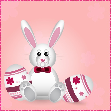 easter card with pretty rabbit Vector