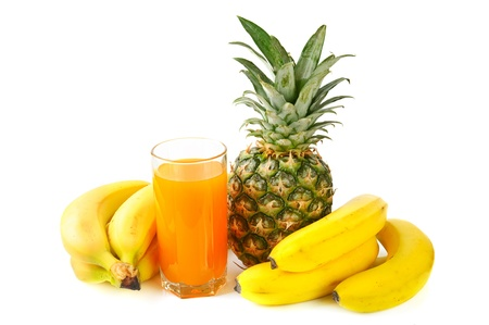 fresh tropical fruits and juice photo