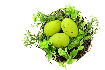 decorative easter nest with eggs Stock Photo - 9229945
